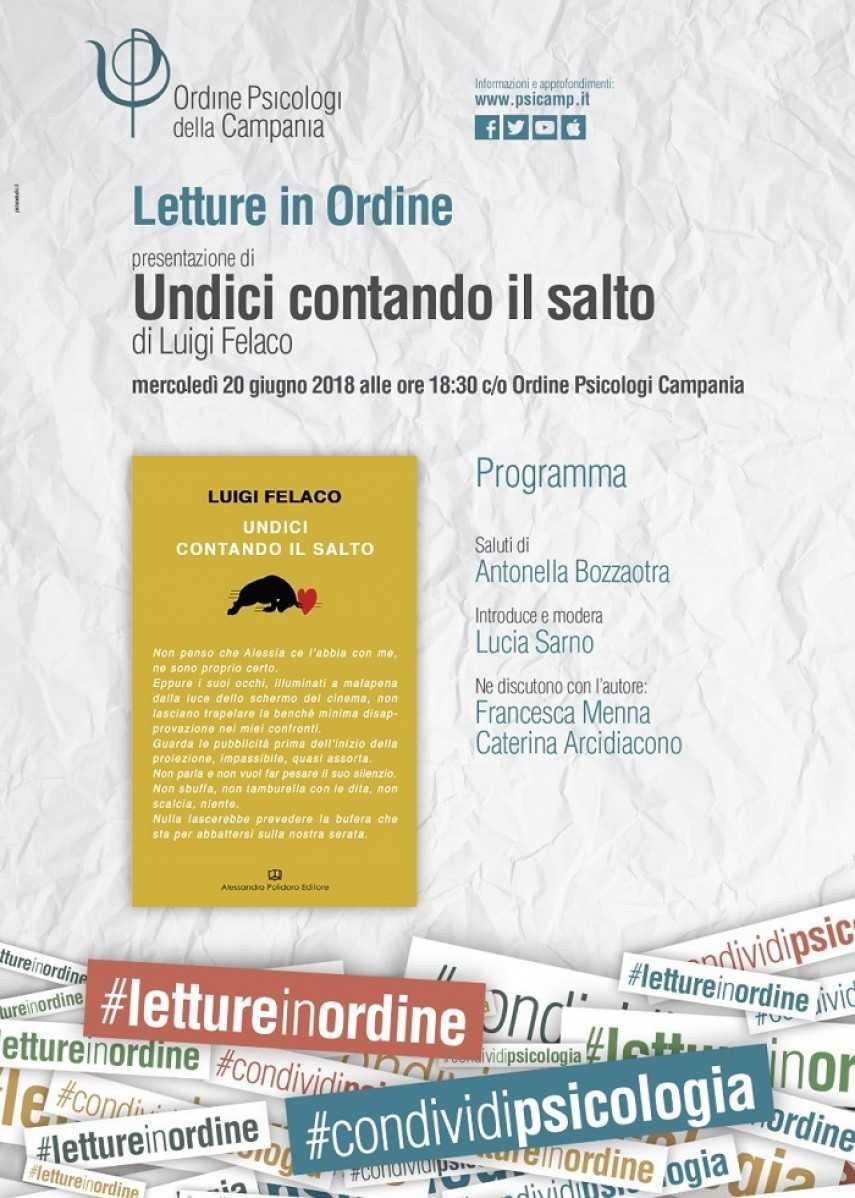 """Napoli, Letture in Ordine, presentazione di """"Undici contando il salto"""" di Luigi Felaco"""