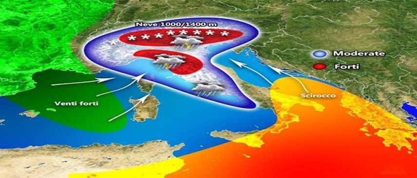 Meteo: Piogge, Temporali e Neve, previsioni su Nord, Centro, Sud e Isole
