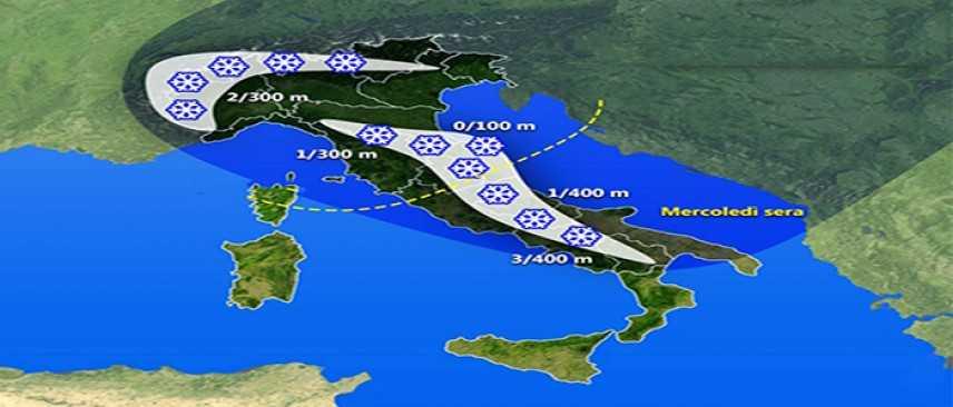 Allerta Meteo: Ciclone al Centro Sud, con neve su Romagna, Umbria, Marche, Abruzzo, Molise e Reatino