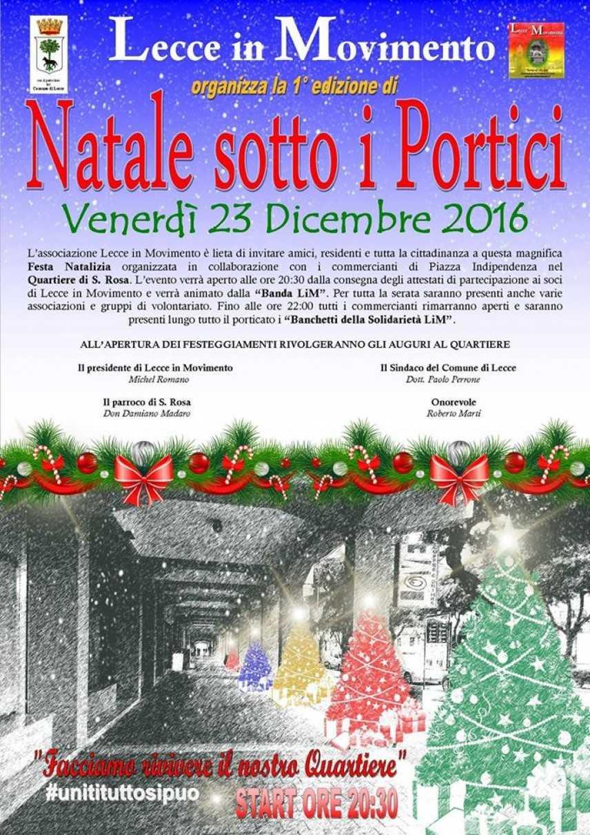 """Il 23 e 24 dicembre la I edizione di """"Natale Sotto i Portici"""" riporta nel Quartiere Santa Rosa"""
