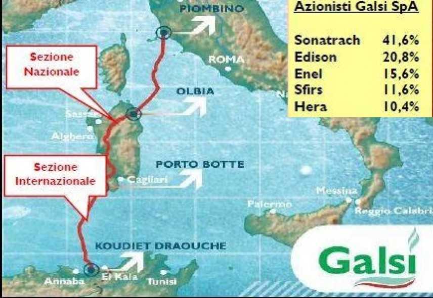 Sardegna, la Sfirs esce da Galsi. Congelato il progetto del metanodotto dall'Algeria