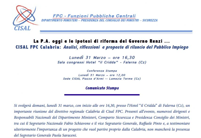 CISAL FPC Calabria:La P.A. oggi e le ipotesi di riforma del Governo Renzi ...