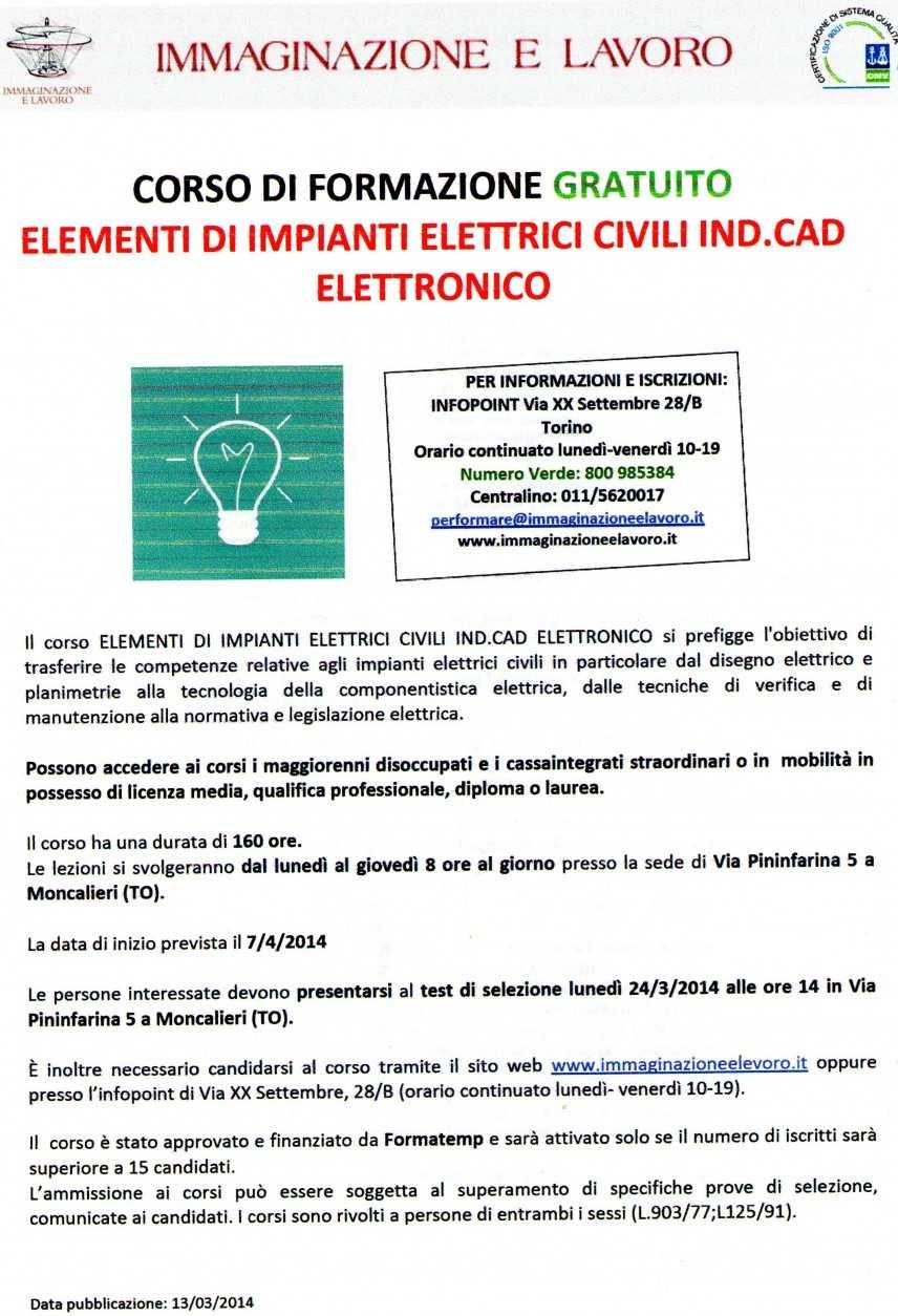 Immaginazione e Lavoro: corso gratuito Impianti elettrici civili, industriali e cad elettronico
