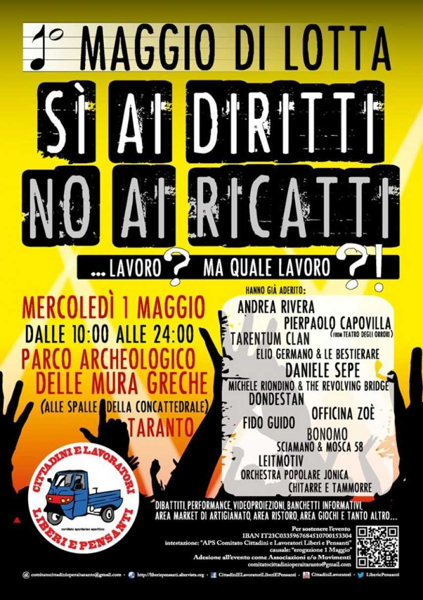 """Primo maggio 2013 a Taranto: """"Si ai diritti, no ai ricatti"""""""
