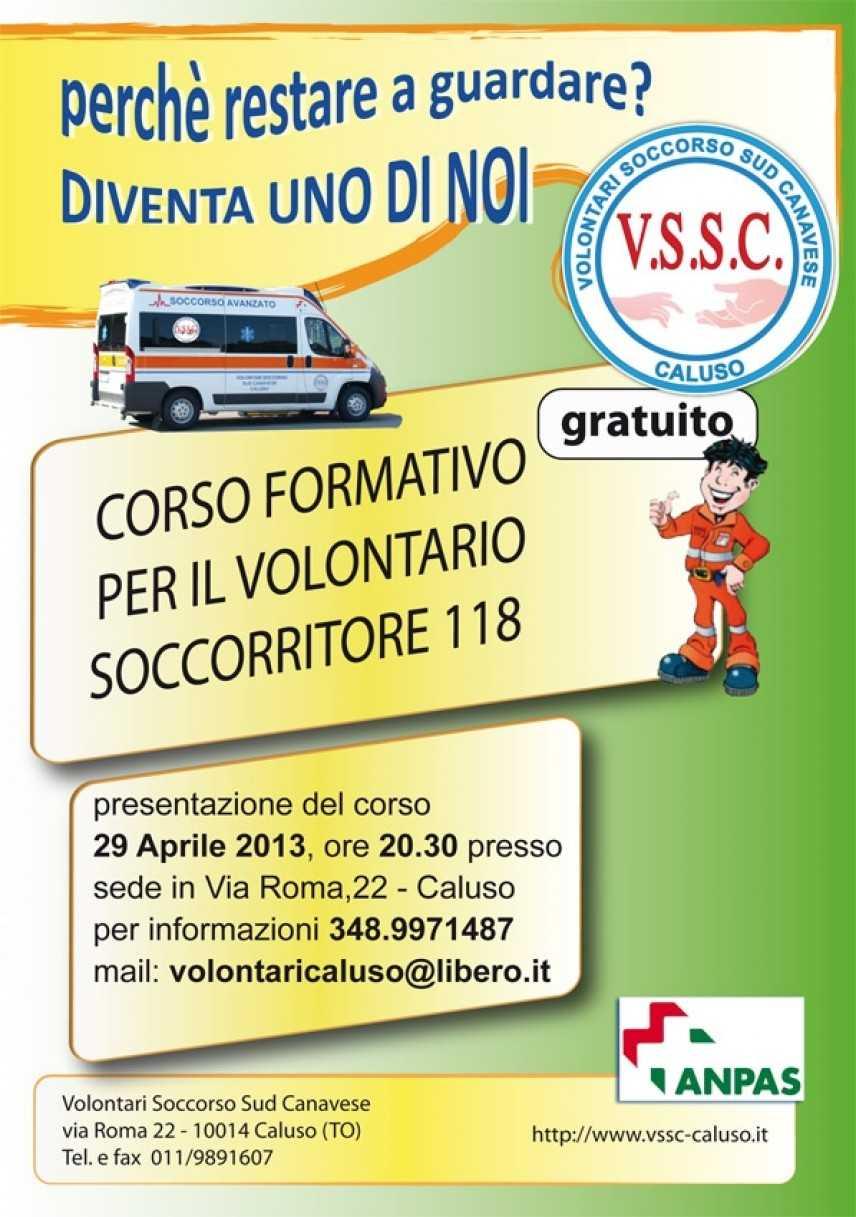 L'Associazione Vssc di Caluso ricerca nuovi volontari  e presenta il corso soccorritori 118