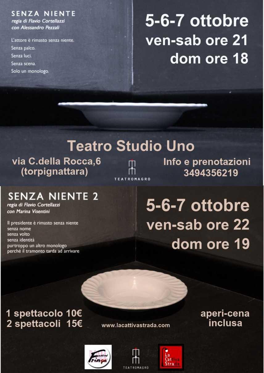 Senza Niente 1/L'Attore in scena al Teatro Studio Uno