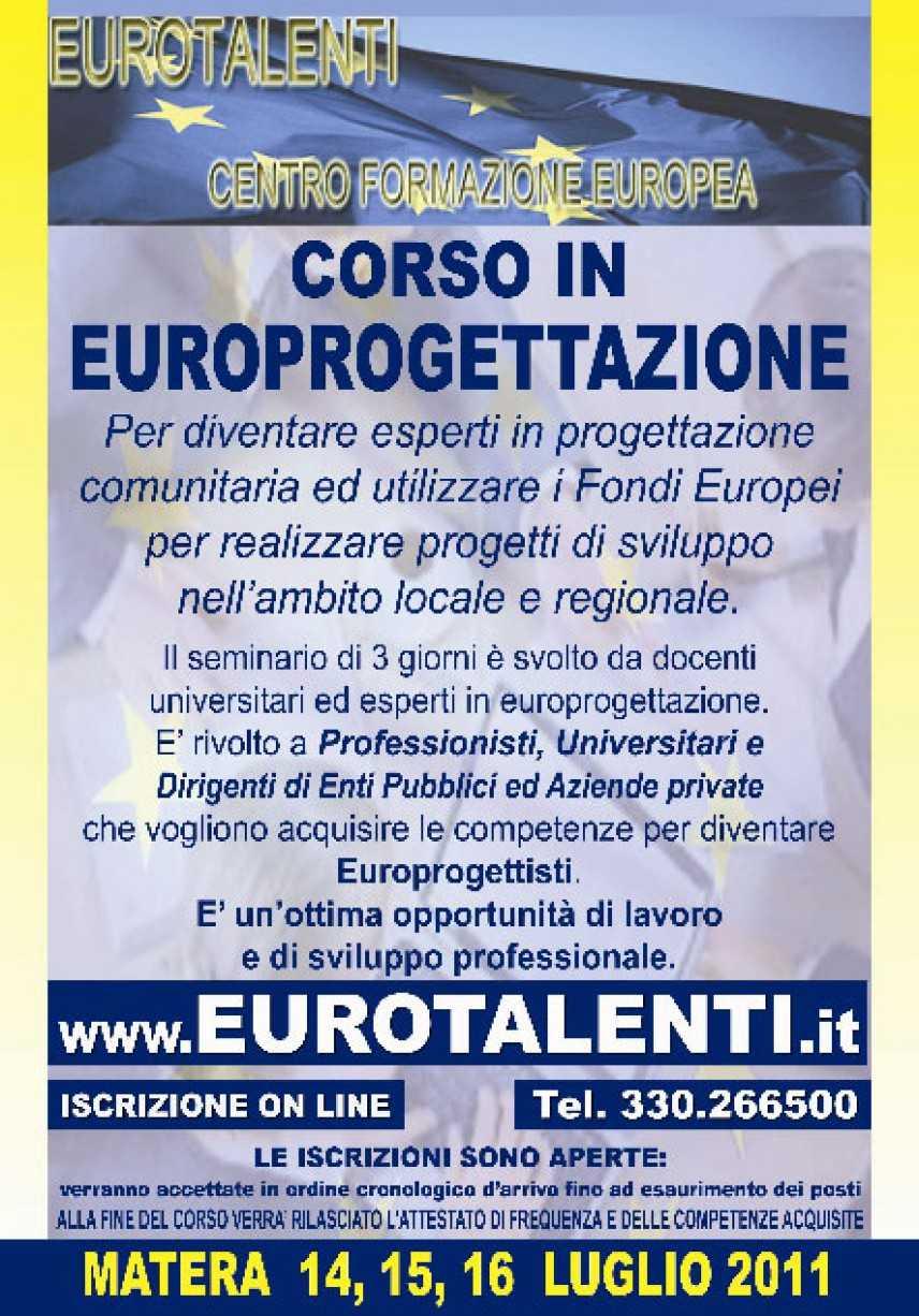 Anche a Matera un corso di Europrogettazione dal 14  luglio 2011