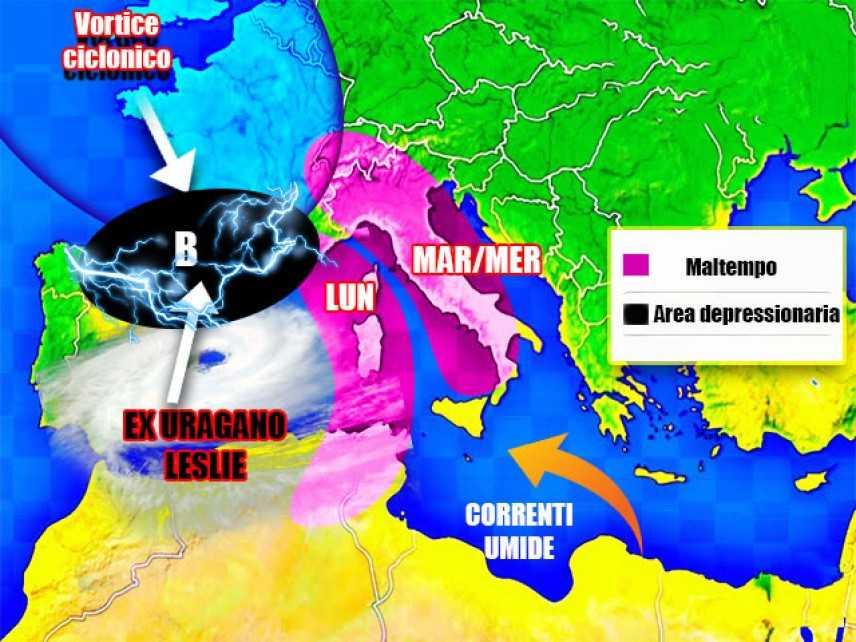 Meteo: l'ex uragano Leslie punta l'Italia, previsioni su Nord, Centro, Sud e Isole