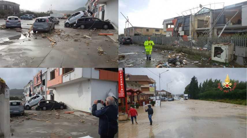 Tromba d'aria sulla SS106 Catanzarese e nella zona commerciale a Crotone. Intervento dei VVF (Video)