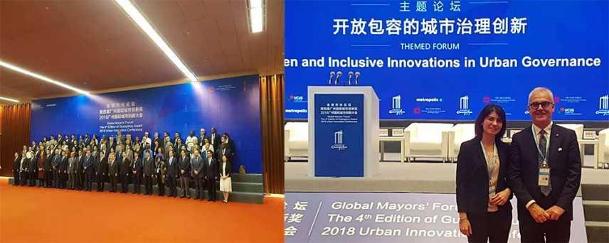 Il sindaco Carancini e l'assessore Casoni in Cina, a Guangzhou, al Global Mayors' Forum