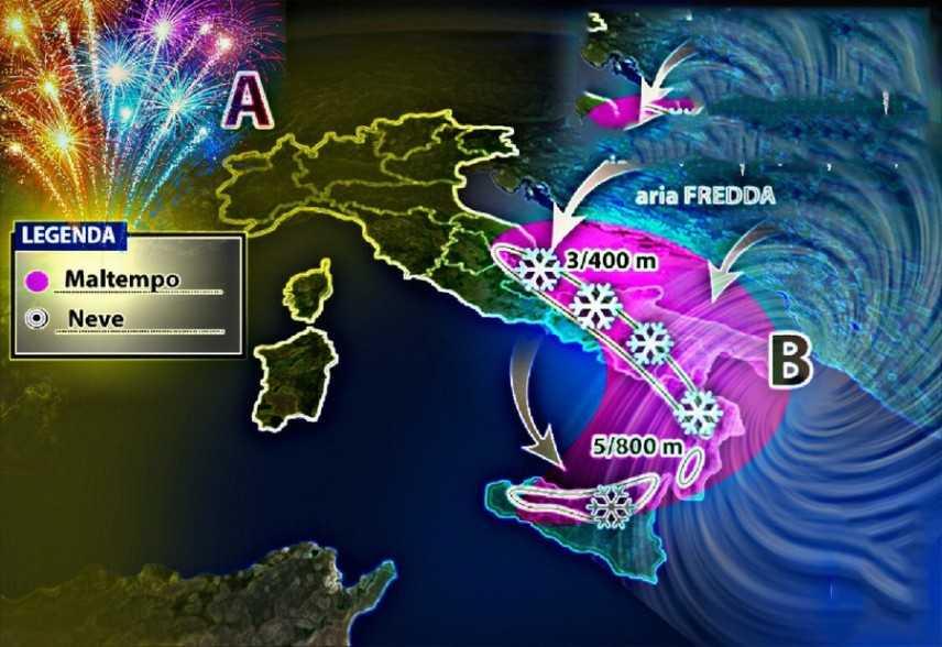 Meteo: Notte di San Silvestro e Capodanno, previsioni su Nord, Centro, Sud e Isole