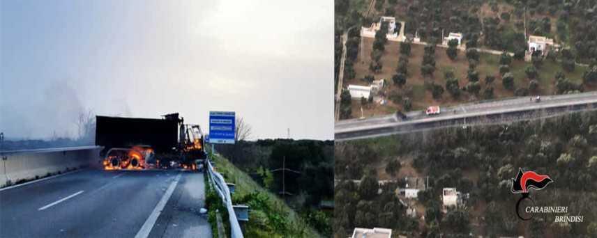 Rapina a portavalori nel Barese con ruspe e mezzi in fiamme