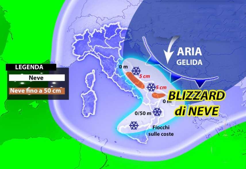 Meteo: gelide correnti polari arrivano i pericolosi blizzard di neve.  Zone a rischio