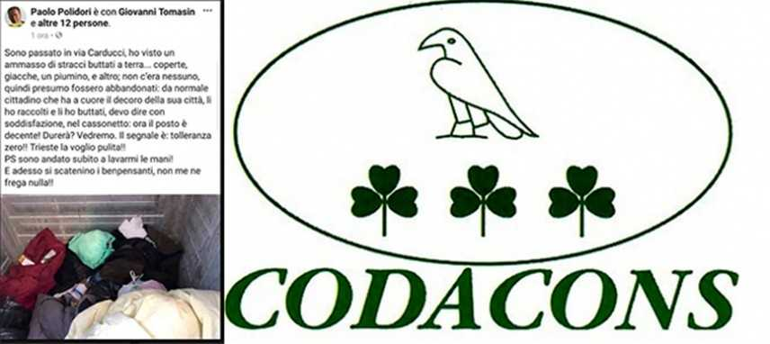 Codacons, sia rimosso vicesindaco di Trieste getta nel cassonetto le coperte di un senzatetto