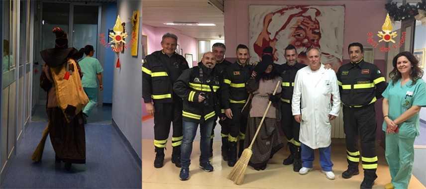 I VVF e la Befana donano gioia al reparto di pediatria dell'ospedale Giovanni Paolo II di Lamezia T.