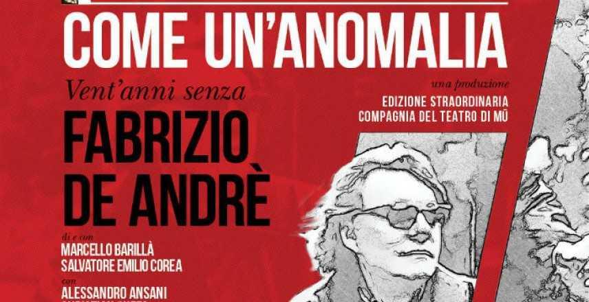 """Musica: Catanzaro """"Come un'anomalia. Vent'anni senza Fabrizio De Andrè"""