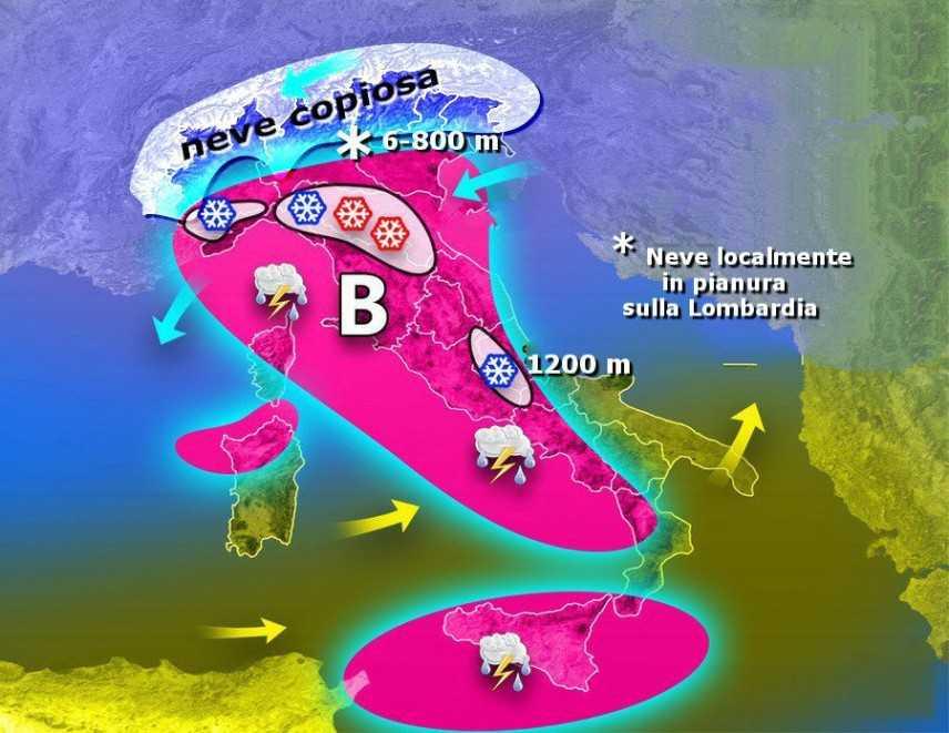 Meteo: neve sull'Italia, rovesci e vento forte, ecco dove, previsioni su Nord, Centro Sud e Isole