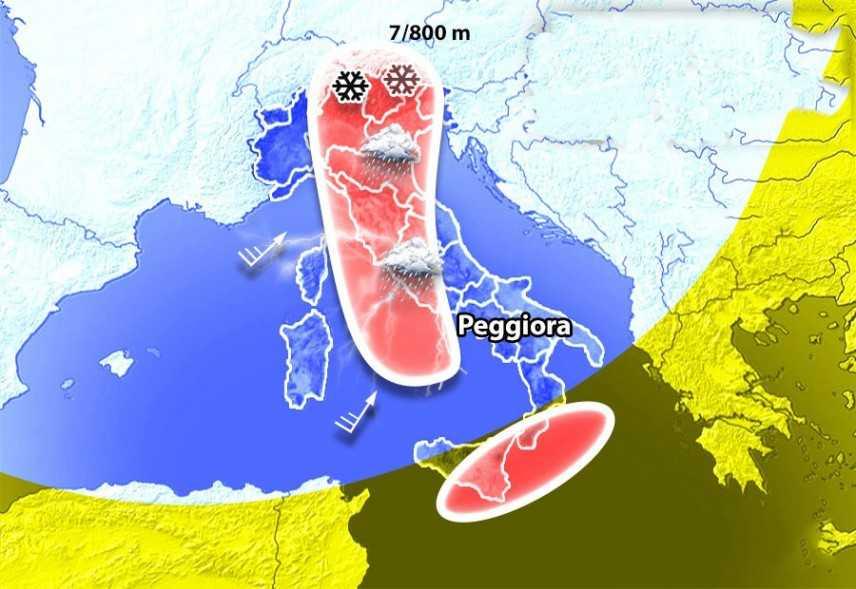Meteo: Ecco la nuova perturbazione, stanno tornando pioggia e neve anche al Nord. I dettagli