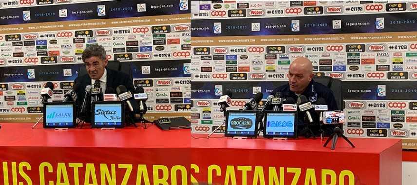 Calcio Serie C Catanzaro-Paganese 4-1 i commenti dei tecnici Auteri e De Sanzo in sala stampa. Video