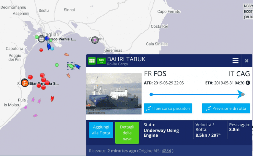 La nave saudita Bahri Tabuk è in porto a Cagliari. Potrebbe imbarcare bombe per guerra in Yemen