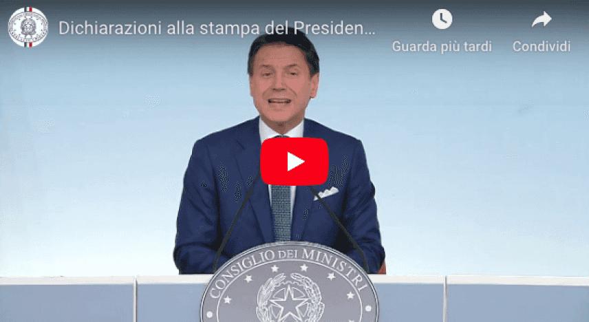 Governo è crisi: Video dichiarazioni del Presidente Conte