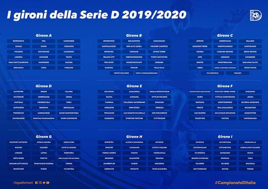 Calendario Serie D Girone H.Calcio Serie D I Gironi Del Campionato 2019 2020