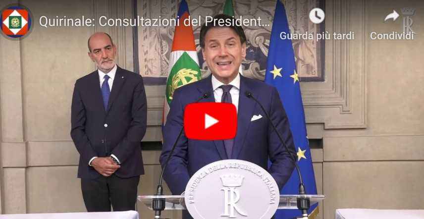 Mattarella chiama Giuseppe Conte, al colle per l'incarico sull'intesa M5S-PD (Diretta Video)